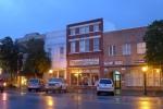 Shops at dusk in the rain
